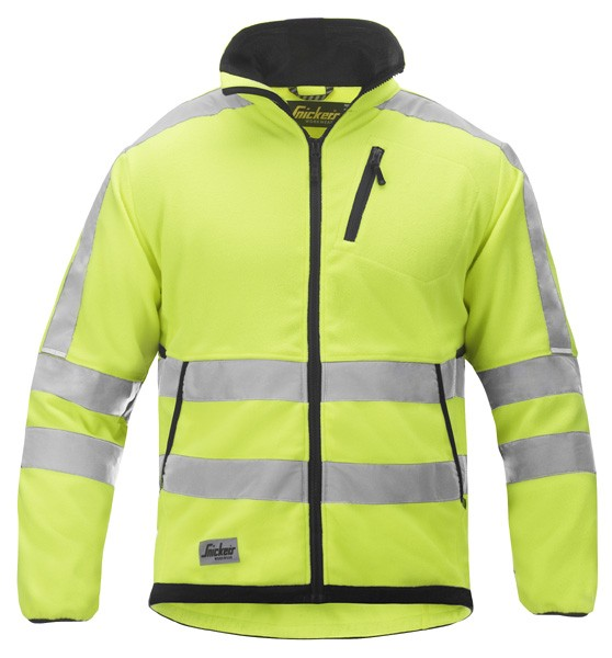 Snickers 8033 Hi-Vis Fleece Jacket Class 3 - Yellow/Black Brix